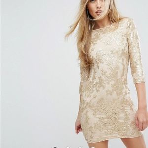 ASOS gold sequin body con dress